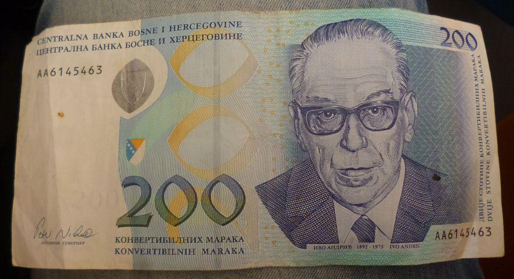 200 КМ с портретом Иво Андрича. Фото: Елена Арсениевич, CC BY-SA 3.0