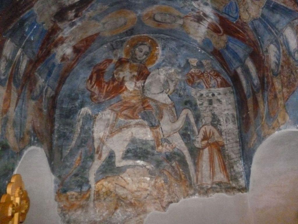 Св. Георгий, фреска 19-го века. Фото: Елена Арсениевич, CC BY-SA 3.0
