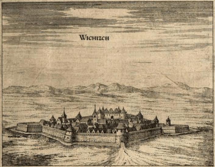Крепость Бихач в XVII веке. Автор Janez Vajkard Valvasor, Public domain