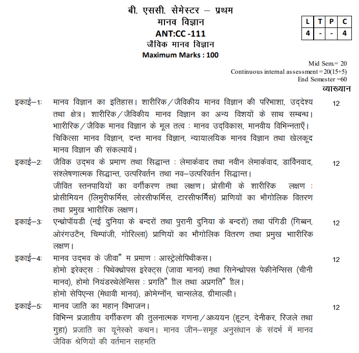 BA 1st Year Anthropology Syllabus in Hindi PDF
