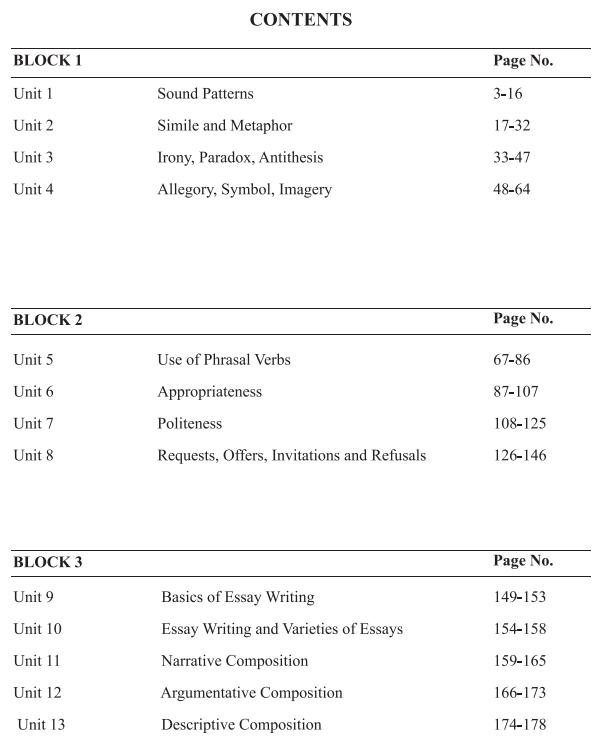BA 1st year English literature books by UOU