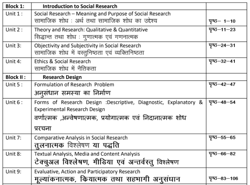 MA Previous Sociology Books in Hindi PDF by UOU