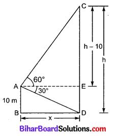 Bihar Board Class 10 Maths Solutions Chapter 9 त्रिकोणमिति के कुछ अनुप्रयोग Additional Questions LAQ 3
