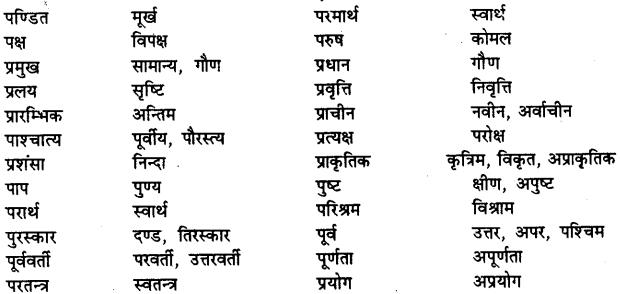 Bihar Board Class 12th Hindi व्याकरण विलोम या विपरीतार्थक शब्द 11