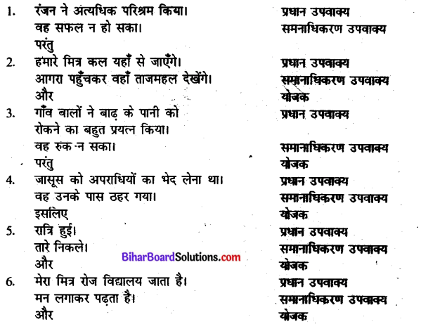 Bihar Board Class 10 Hindi व्याकरण वाक्य-भेद 2