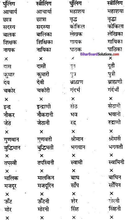 Bihar Board Class 9 Hindi व्याकरण लिंग - 2