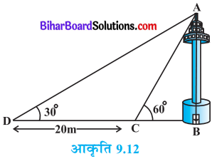 Bihar Board Class 10 Maths Solutions Chapter 9 त्रिकोणमिति के कुछ अनुप्रयोग Ex 9.1 Q11
