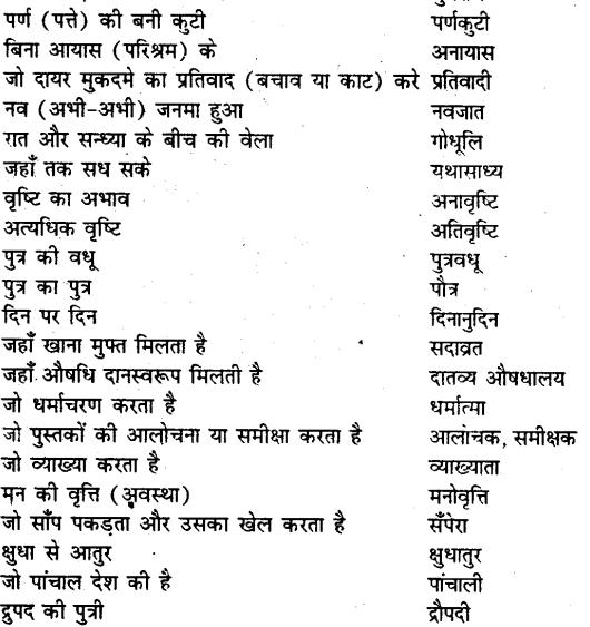 Bihar board class 9 hindi व्याकरण अनेक शब्दों के लिए एक शब्द - 11