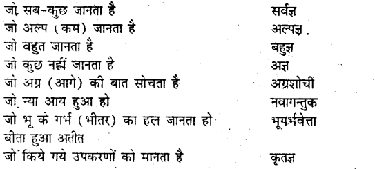 Bihar board class 9 hindi व्याकरण अनेक शब्दों के लिए एक शब्द - 3