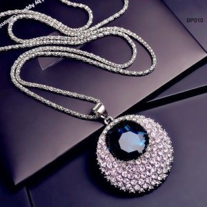 Blue Rhinestone And Crystal Round Shape long Chain Necklace