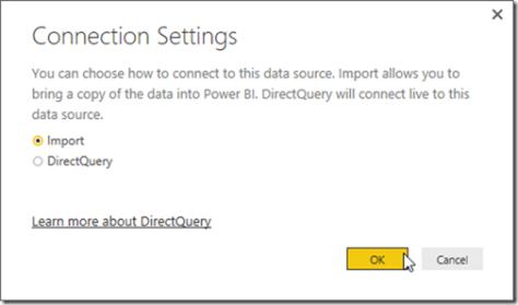 Power BI Get data from SQL Server Import mode