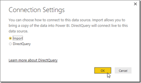 Power BI Connection Settings