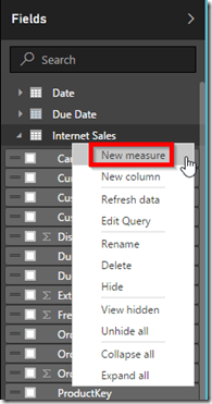 Power BI Desktop Create New Measure