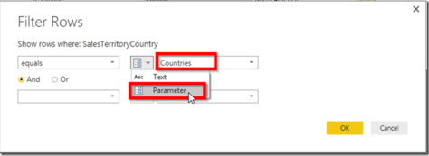Power BI Desktop Filter Rows Parameters