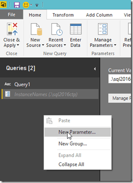 Power BI Desktop Create Query Parameters