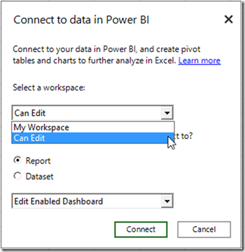Connect to Power BI Workspace Groups from Power BI Publisher for Excel