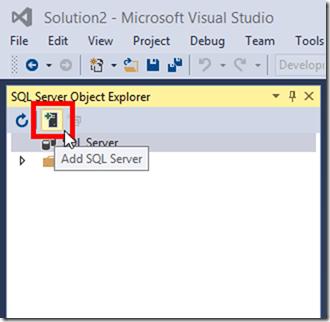 Add Server to SQL Server Object Explorer Visual Studio