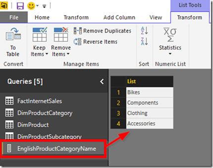 Power BI Desktop Create List