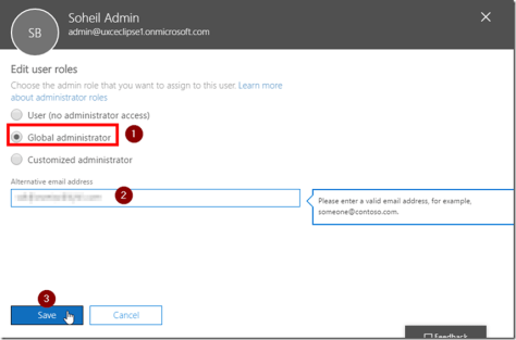 Office 365 Admin Centre Global Admin
