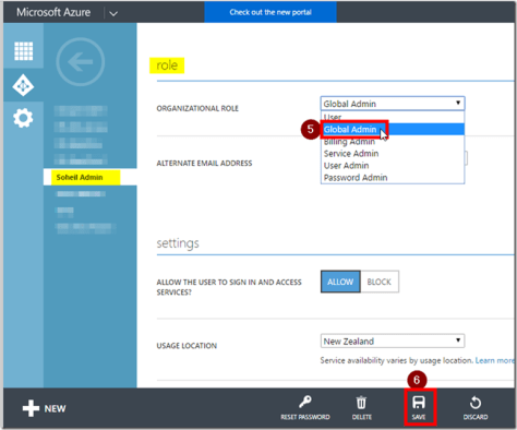 Office 365 Admin Centre Azure AD User Settings Global Admin