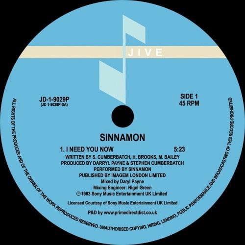 Sinnamon - I Need You Now - JD19029P - JIVE