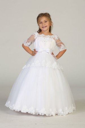Wholesale girls white dress Wholesale long sleeve white dress for girls