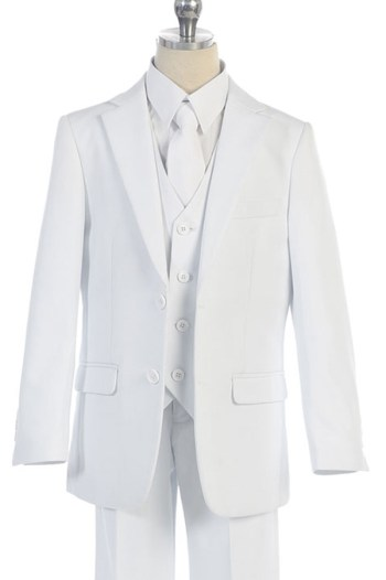 communion white suit five piece set for boys