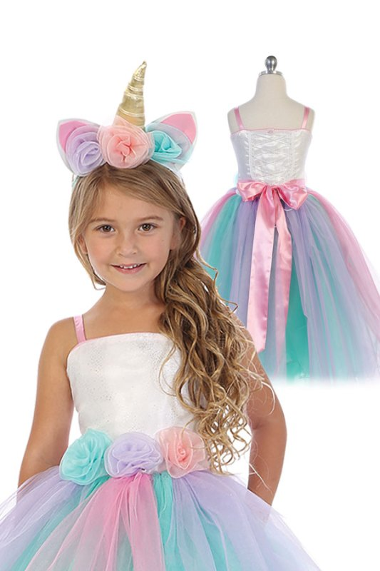 Wholesale girls unicorn dress with unicorn headband