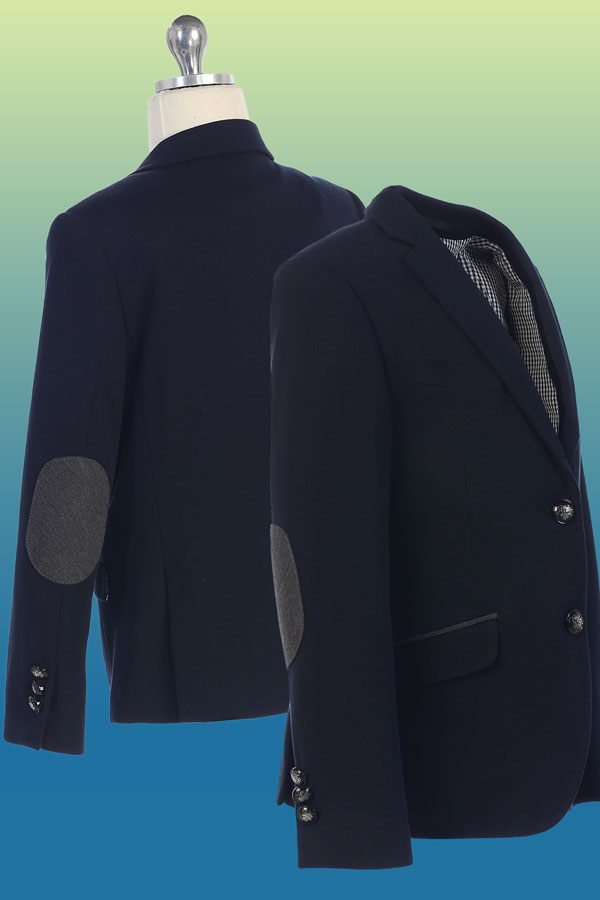 nx-0004A-m88 single boys blazer with elbow patches