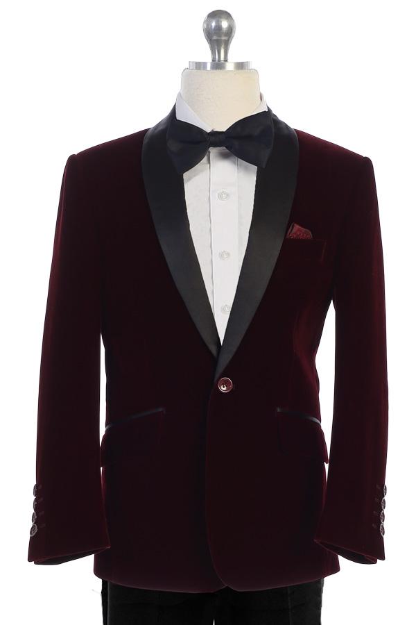 bijan kids 8088 burgundy velvet suit