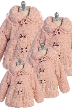 bijan kids 1880 plush pink coat