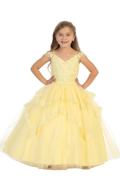 Multi layered ballgown with silver sequins in yellow light yellow