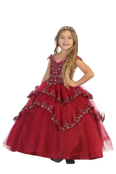 Multi layered ballgown with silver sequins in Burgundy color