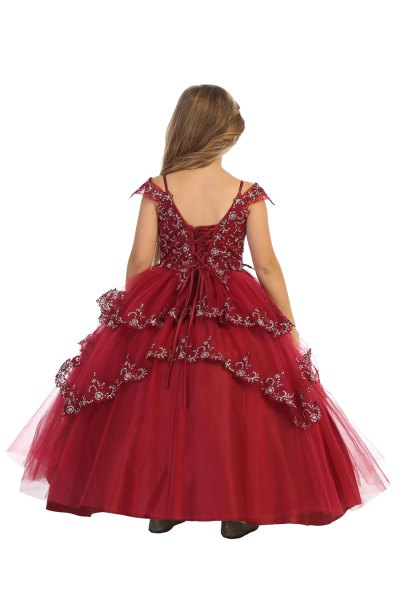Multi layered ballgown with silver sequins in Burgundy color back