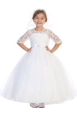 Wholesale white communion dress with lace sleeves