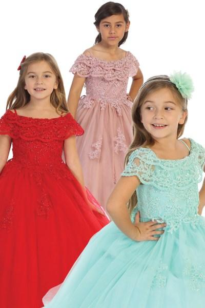 wholesale girls off the shoulder dresses in multiple colors