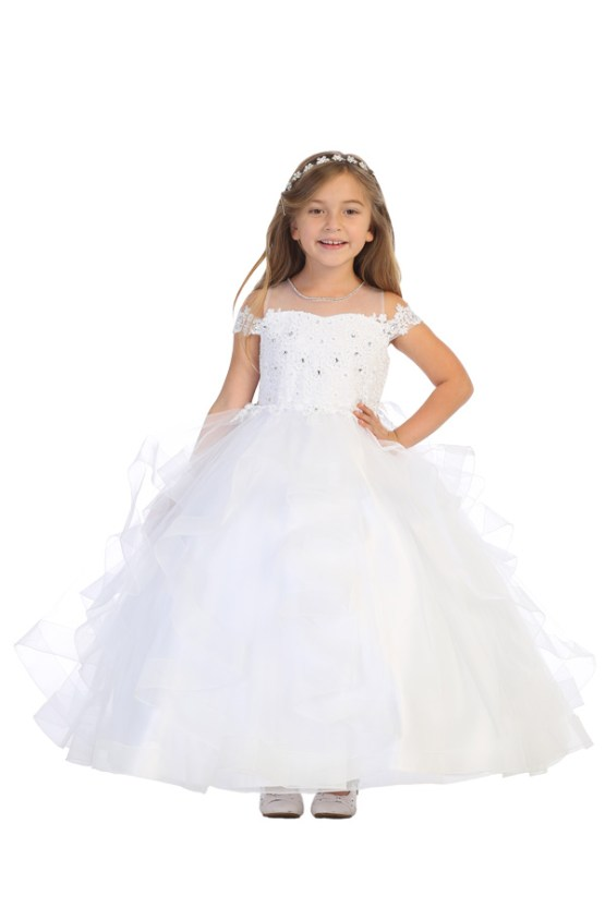 Bijan kids white communion dress for flowwer girls and pageants