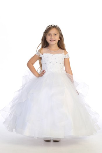 white communion dress for girls with drop shoulder straps and ruffled skirt