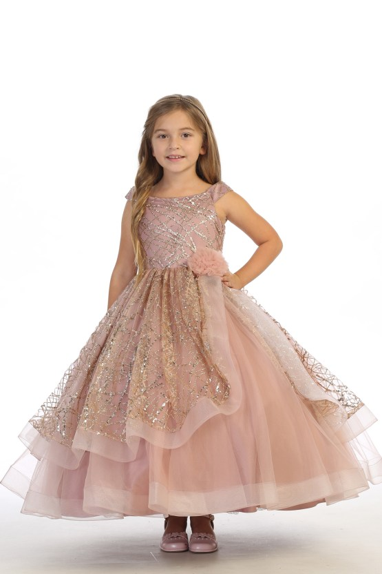 Wholesale glittered dress in mauve color, dusty pink, or rose gold.