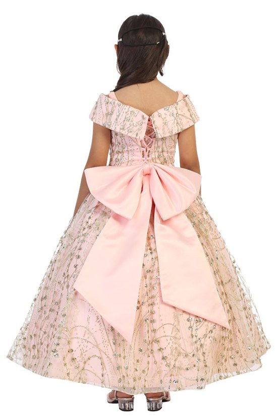 wholesale blush and glitter dress with corset back and large bow