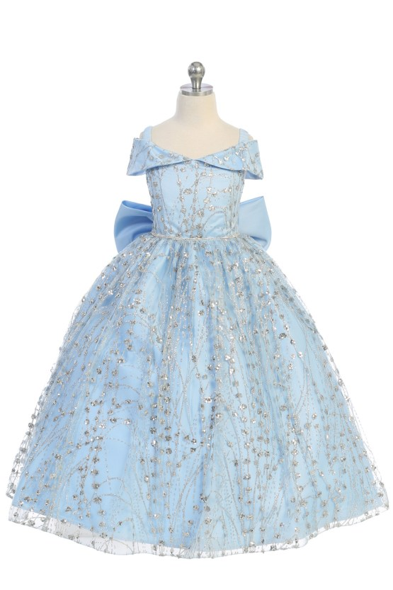 wholesale girls dress in baby blue with silver sequins and glitter