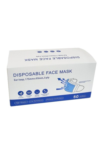 pack of 50 blue face masks
