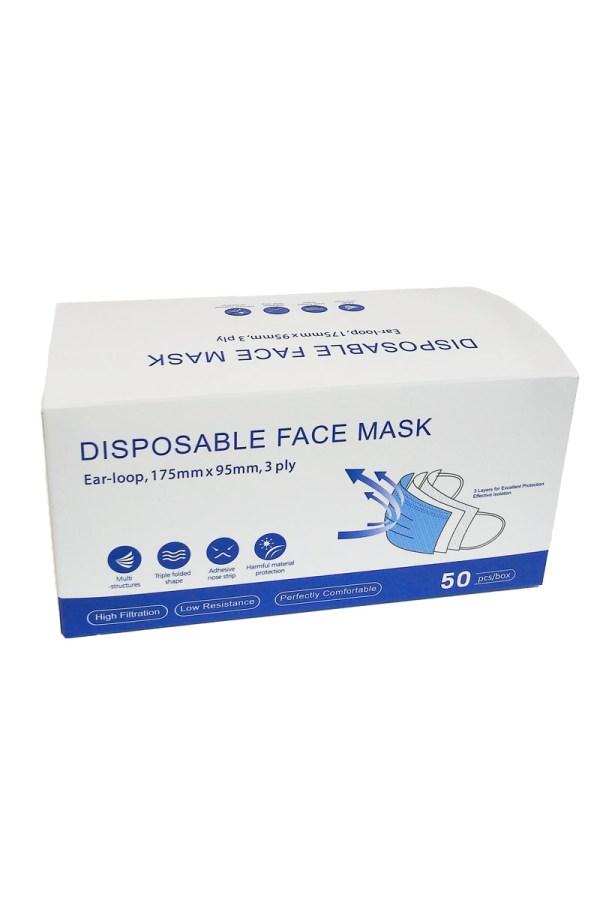 pack of 50 blue face masks