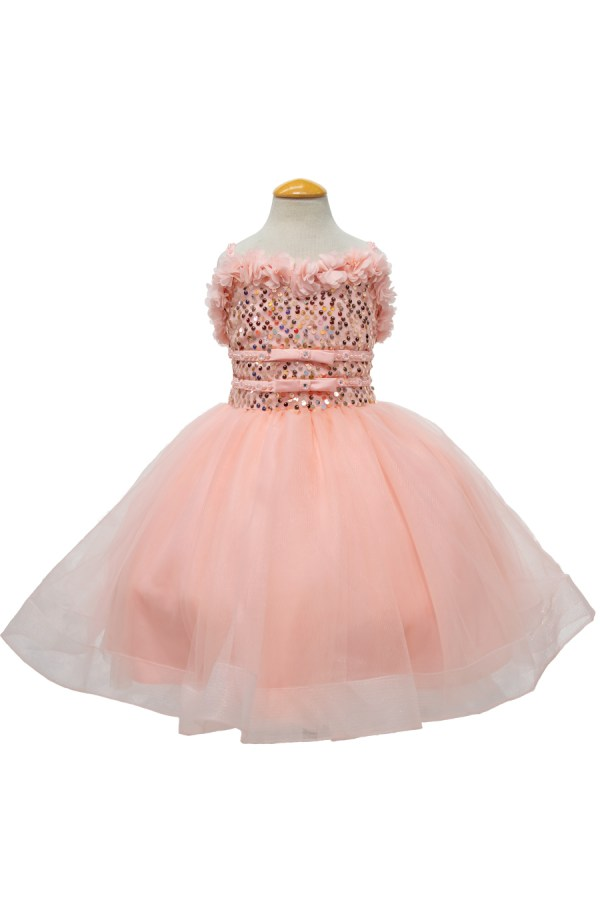 short flower girl dress with sequins top and corset back in Blush