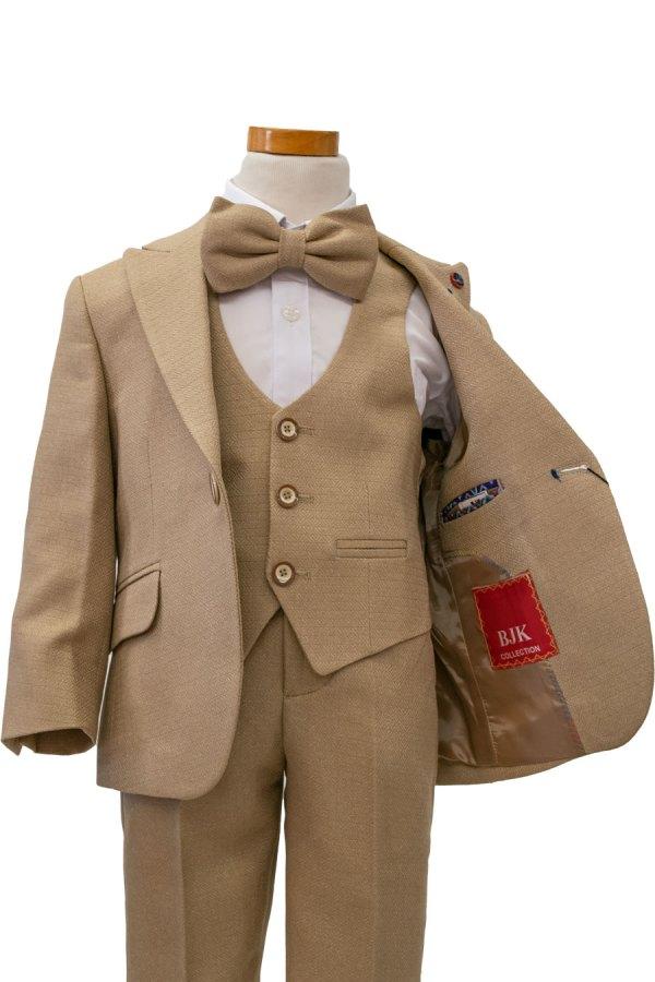 Bijan kids textured khaki 4 piece designer suit