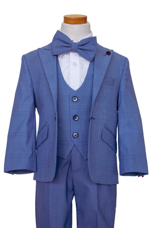 boy's blue plaid suit with blue bow tie and plain blue pants