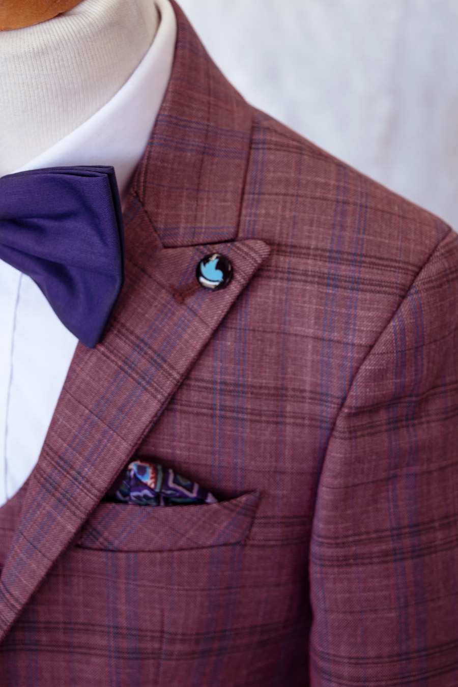 boy's burgundy and navy suit 4 pieces set