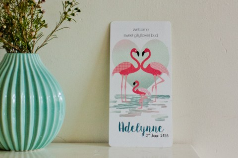 tropisch flamingo geboortekaartje voor Adelynne