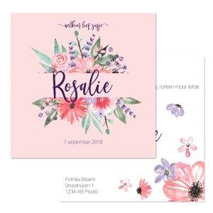 geboortekaartje watercolor flowers voorkant en achterkant