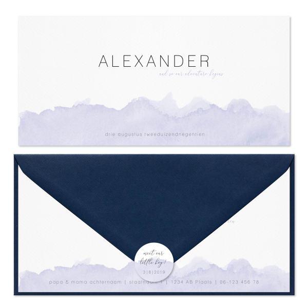 geboortekaartje blue waves set blauw envelop